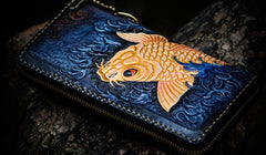 Handmade Leather Men Tooled Carp Cool Leather Wallet Long Phone Wallets for Men