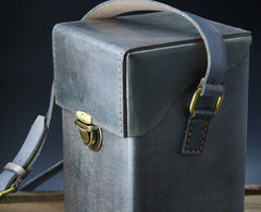 Handmade Gray Leather Mens Small Box Bag Shoulder Bag Messenger Bag for Men