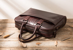 Red Brown Leather Mens Briefcase Work Bag Laptop Bag Business Bag for Men