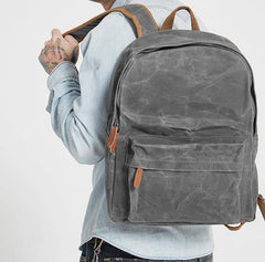 Gray Waxed Canvas Mens Laptop Backpack College Backpack Gray Canvas Travel Backpack for Men