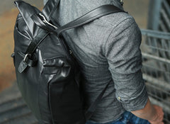 Black Leather Mens Backpacks Travel Backpacks Laptop Backpack for men