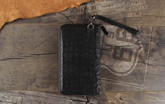 Handmade Genuine Leather Mens Cool Long Leather Wallet Zipper Clutch Wristlet Wallet for Men