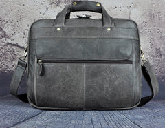 Black Leather Mens Large Briefcase Travel Bag Business Bag Work Bag for Men