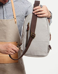 Cool Canvas Gray Mens Sling Bag Chest Bag One Shoulder Pack for men