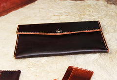 Handmade Leather Mens Large Clutch Wallet Wristlet Wallet iPad Case