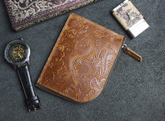 Handmade Leather Floral Mens Front Pocket Wallet Cool Slim Leather Wallet Men Short Wallets Bifold for Men