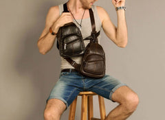 Cool Leather Mens Sling Bag Sling Shoulder Bags Sling Backpack Chest Bag for men