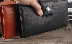 Genuine Leather Mens Cool Long Leather Wallet Cards Clutch Wristlet Wallet for Men