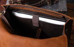 Genuine Leather Mens Cool Messenger Bag Briefcase Work Bag Business Bag for men
