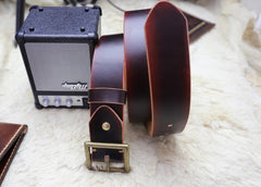 Cool Handmade Red Brown Leather Mens Belt Leather Belt for Men