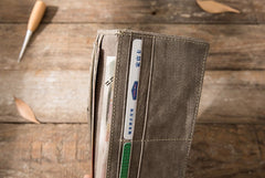 Cool Mens long Wallet Leather Vintage Wallet Long Wallets for Men