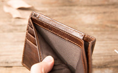 Cool Leather Mens Small Wallets Bifold Vintage Short Wallets for Men