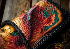 Handmade Leather Tooled Carp Mens Chain Biker Wallet Cool Leather Wallet Long Phone Wallets for Men