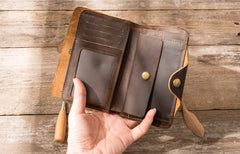 Vintage Slim long Wallets Leather Mens Coffee Wallet Long Wallet for Men