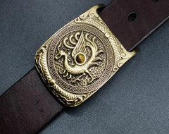 Handmade Genuine Leather Punk Rock Guan Yu Mens Cool Men Biker Trucker Leather Belt