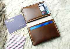 Brown Leather Mens Slim Front Pocket Bifold Small Wallets Card Wallet for Men