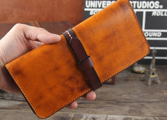 Handmade Leather Mens Cool Wallet Long Leather Wallet Phone Wallet for Men