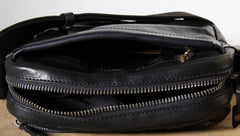 Genuine Leather Mens Cool Small Messenger Bag Sling Bag Chest Bag Bike Bag Cycling Bag for men