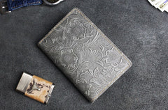 Handmade Leather Floral Mens Cool Short Wallet Passport Card Holder Small Card Slim Wallets for Men