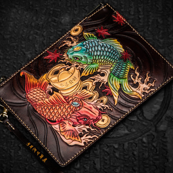 Handmade Leather Carp Tooled Wristlet Bag iPad Bag Mens Cool Leather Wallet Long Clutch for Men