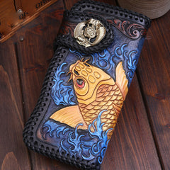 Handmade Leather Carp Mens Chain Biker Wallet Cool Leather Wallet With Chain Wallets for Men