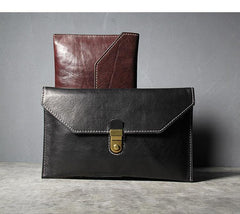 Cool Leather Black Mens Clutch envelope wallet Brown Clutch Wallet Wristlet Wallet for Men