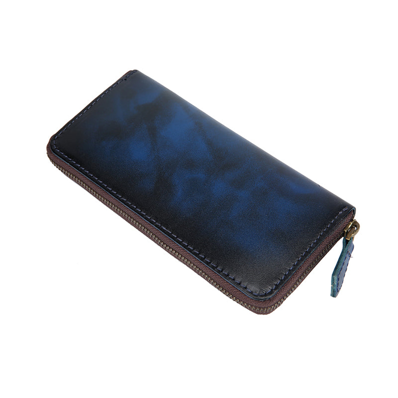 Cool Handmade Mens Brown Long Wallet Blue Bifold Card Wallet Zipper Clutch Wallet For Men