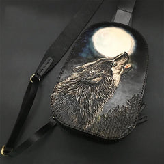 Black Handmade Tooled Leather Monkey King Sling Bag Chest Bag One Shoulder Backpack For Men