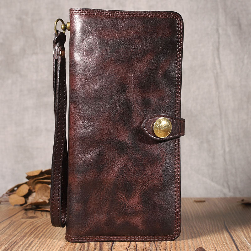 Cool Black Leather Mens Long Wallet Biker Wallet Chain Wallet Coffee Wristlet Clutch Wallet for Men