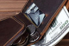 Cool Mens Leather Short Wallet Leather Small Wallet Bifold Slim Wallets For Men