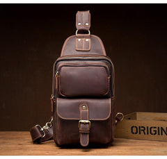 Cool Brown Leather Mens Sling Pack Sling Bag Crossbody Pack One Shoulder Pack Chest Bag for men