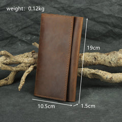 Brown Vintage Slim Leather Long Wallet for Men Bifold Dark Brown Bifold Wallet For Men