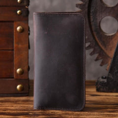 Handmade Leather Mens Cool Long Leather Wallet Slim Phone Clutch Wallet for Men