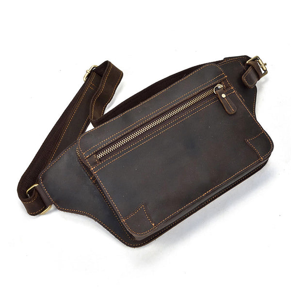 Cool Dark Brown LEATHER MENS FANNY PACK FOR MEN BUMBAG Vintage WAIST BAGS