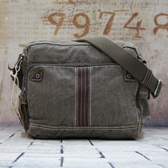 Vintage Canvas Black Mens Small Postman Bag Green Canvas Messenger Bags Small Courier Bag For Men