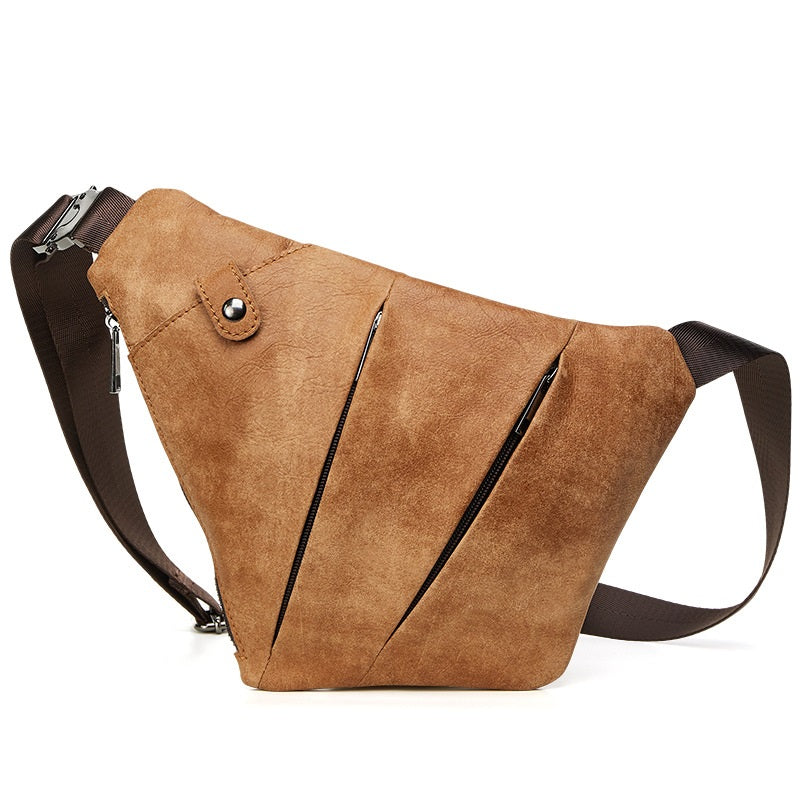 Cool Leather Brown Men's Sling Bag Chest Bag Black Crossbody Backpack For Men