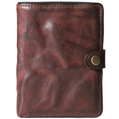 Pleated Leather Mens Vertical Black billfold Wallet Men Brown Small Bifold Wallets for Men