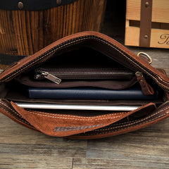 Cool Dark Brown Leather 11 inches Mens Courier Bag Casual Messenger Bags Clutch Postman Bags for Men