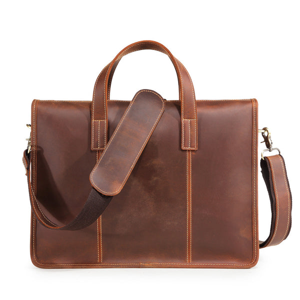 Retro Leather Handbag Work Bag Business Bag Shoulder Bag For Men