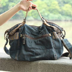 Fashion Denim Blue Mens Large Postman Bag Jean Messenger Bags Large Courier Bag For Men