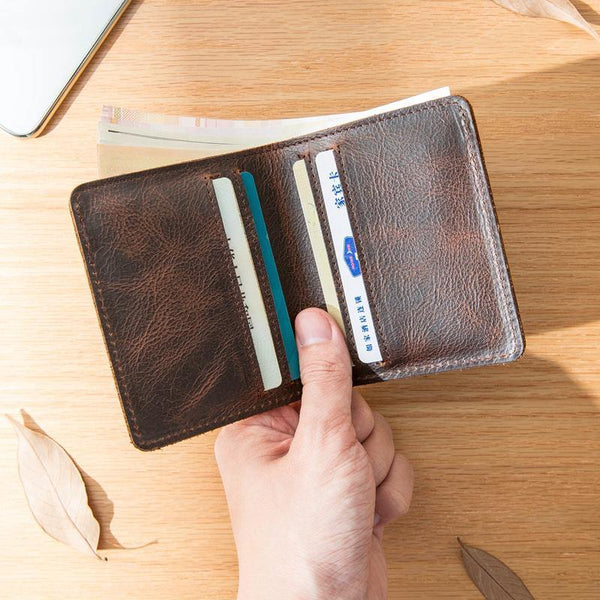 Dark Brown Leather Mens Small Wallets Bifold Vintage billfold Wallet Front Pocket Wallet for Men