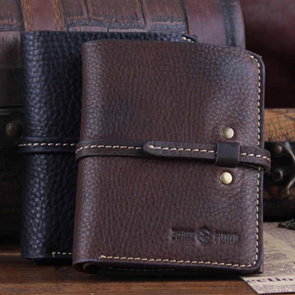 Genuine Leather Mens Cool Slim Long Short Leather Wallet Men Small Wallets Bifold for Men
