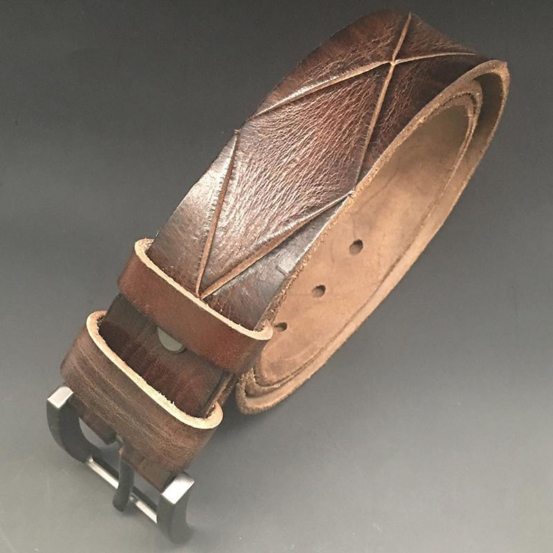 Handmade Cool Coffee Brown Leather Mens Belt Brown Leather Belt for Men