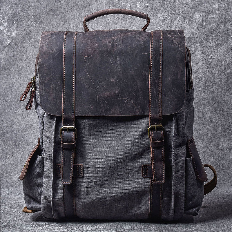 "Cool Canvas Leather Mens Womens 15"" Khaki Backpack Gray Travel Backpack College Backpack for Men"