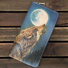 Handmade Black Wolf Tooled Leather Long Wallet Mahākāla Clutch Zipper Wallet For Men