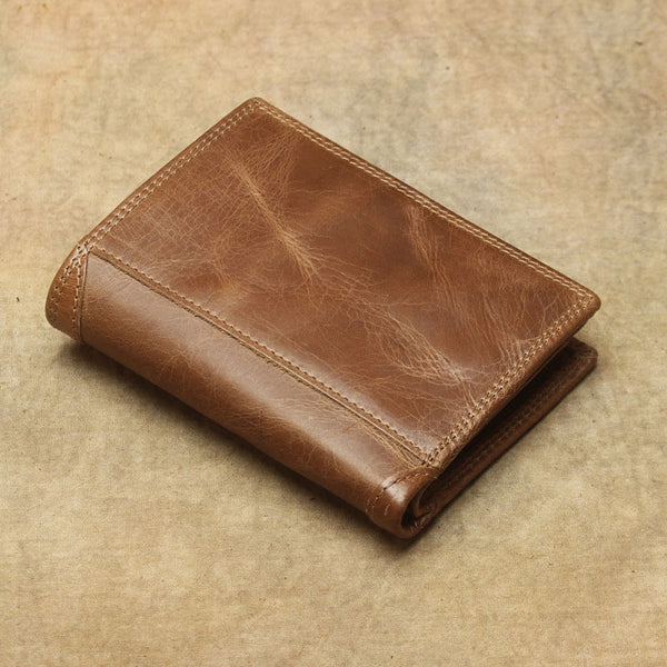 Cool Leather Mens Small Wallet Short Bifold Wallet Front Pocket Wallet for Men