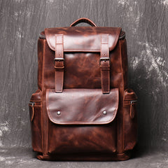 Cool Brown Mens Leather 15.6 inches Large School Backpack Travel Backpack for Men