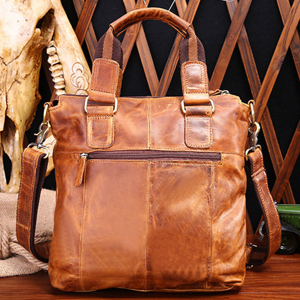 Vintage Coffee Leather Mens Briefcase Laptop Bag Business Bags Work Bag for Men