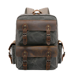 Cool Leather Mens 14 inches Brown Backpack Large Cool Vintage Large Travel Backpack for Men