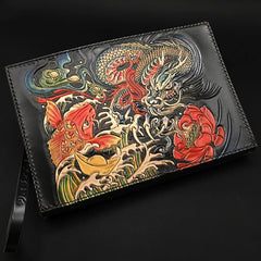Black Handmade Tooled Leather Chinese Dragon Clutch Wallets Wristlet Bag Clutch Purse For Men